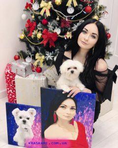 девушка и собака очень красивые картины по фото