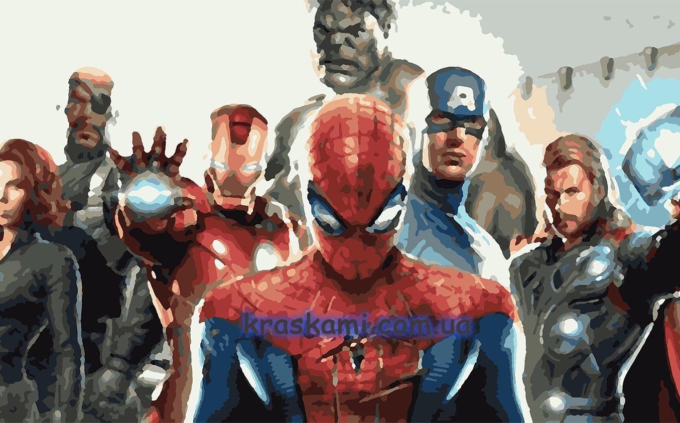 Картины по номерам по фото с супергероями для детей
